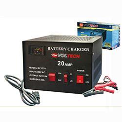 Cargador para baterias automotrices VOLTECH modelo DF-1774, maxima capacidad de carga= 20 Amperios. Uso para cargar baterias de Plomo/Acido de autos o motos, etc.