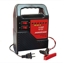Cargador para baterias secas automático HURRICANE modelo OP-1208S, maxima capacidad de carga= 8 Amperios. uso en baterias de coches electricos, luces de emergencia, proyectos electrónicos, libre mantenimiento de motos, autos hasta 120 AH, etc.