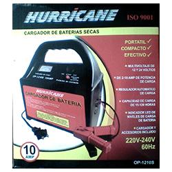 Cargador para baterias secas automático HURRICANE modelo OP-1210S, maxima capacidad de carga= 10 Amperios. uso en baterias de coches electricos, luces de emergencia, proyectos electrónicos, libre mantenimiento de motos, autos hasta 160 AH, etc.