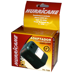TRANSFORMADORES 220V/110V - 50 WATTS marca HURRICANE -  especial para aparatos importados pequeños: calculadoras. teléfonos inalámbricos, cargadores de pilas, FAX, maquina de afeitar, flash de cámara, y otros.